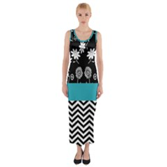 Flowers Turquoise Pattern Floral Fitted Maxi Dress