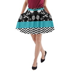 Flowers Turquoise Pattern Floral A-Line Pocket Skirt