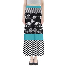 Flowers Turquoise Pattern Floral Full Length Maxi Skirt