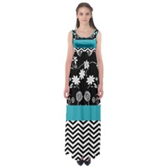 Flowers Turquoise Pattern Floral Empire Waist Maxi Dress