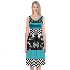 Flowers Turquoise Pattern Floral Midi Sleeveless Dress