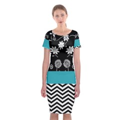 Flowers Turquoise Pattern Floral Classic Short Sleeve Midi Dress