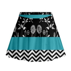 Flowers Turquoise Pattern Floral Mini Flare Skirt