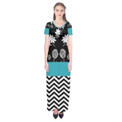 Flowers Turquoise Pattern Floral Short Sleeve Maxi Dress