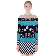 Flowers Turquoise Pattern Floral Long Sleeve Off Shoulder Dress