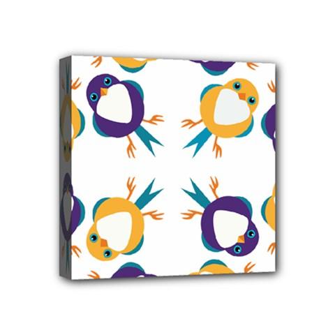 Pattern Circular Birds Mini Canvas 4  x 4