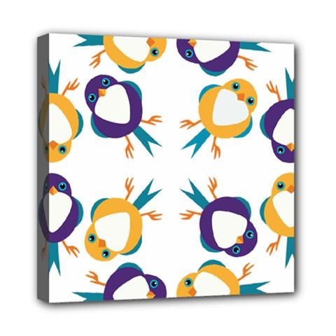 Pattern Circular Birds Mini Canvas 8  x 8