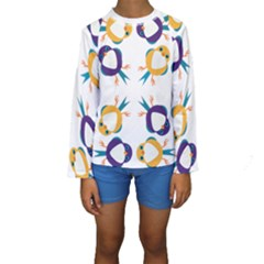 Pattern Circular Birds Kids  Long Sleeve Swimwear