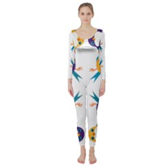 Pattern Circular Birds Long Sleeve Catsuit