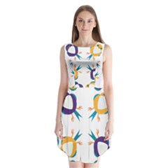 Pattern Circular Birds Sleeveless Chiffon Dress