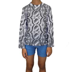 Metal Circle Background Ring Kids  Long Sleeve Swimwear