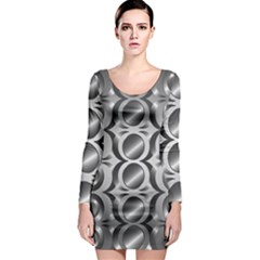 Metal Circle Background Ring Long Sleeve Bodycon Dress