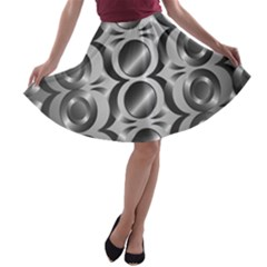 Metal Circle Background Ring A Line Skater Skirt