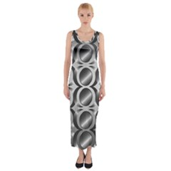 Metal Circle Background Ring Fitted Maxi Dress