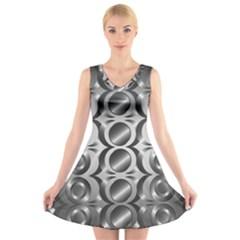 Metal Circle Background Ring V Neck Sleeveless Skater Dress