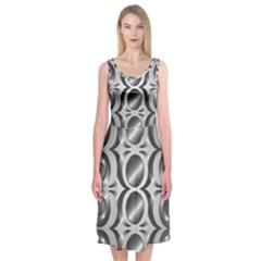 Metal Circle Background Ring Midi Sleeveless Dress
