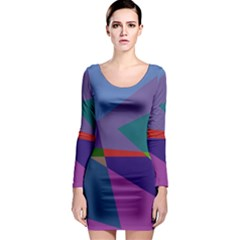 Abstract #415 Tipping Point Long Sleeve Bodycon Dress