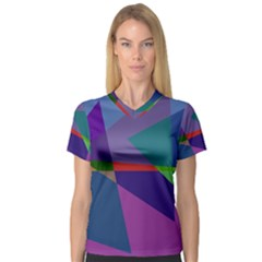 Abstract #415 Tipping Point Women s V-Neck Sport Mesh Tee