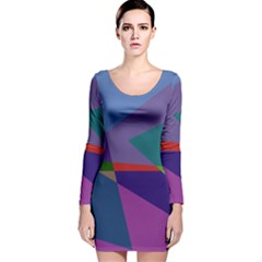 Abstract #415 Tipping Point Long Sleeve Velvet Bodycon Dress