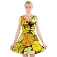 Abstract #417 V-Neck Sleeveless Skater Dress