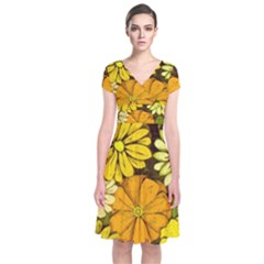 Abstract #417 Short Sleeve Front Wrap Dress