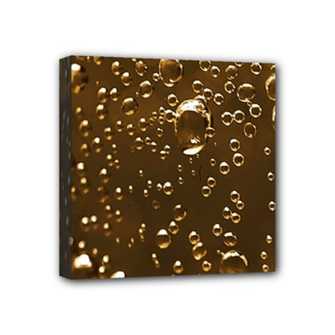 Festive Bubbles Sparkling Wine Champagne Golden Water Drops Mini Canvas 4  x 4