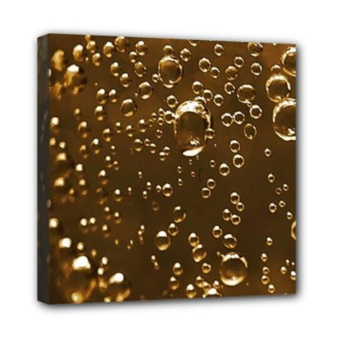 Festive Bubbles Sparkling Wine Champagne Golden Water Drops Mini Canvas 8  x 8