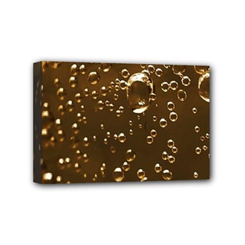 Festive Bubbles Sparkling Wine Champagne Golden Water Drops Mini Canvas 6  x 4