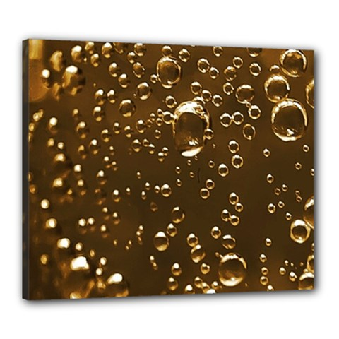 Festive Bubbles Sparkling Wine Champagne Golden Water Drops Canvas 24  X 20