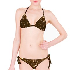 Festive Bubbles Sparkling Wine Champagne Golden Water Drops Bikini Set