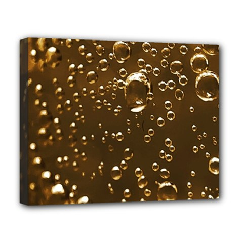 Festive Bubbles Sparkling Wine Champagne Golden Water Drops Deluxe Canvas 20  x 16
