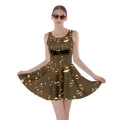 Festive Bubbles Sparkling Wine Champagne Golden Water Drops Skater Dress