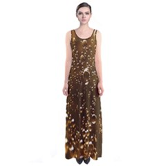 Festive Bubbles Sparkling Wine Champagne Golden Water Drops Sleeveless Maxi Dress