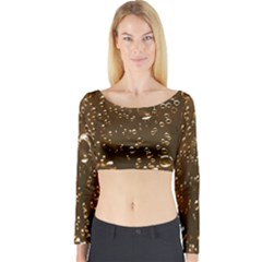 Festive Bubbles Sparkling Wine Champagne Golden Water Drops Long Sleeve Crop Top