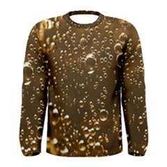 Festive Bubbles Sparkling Wine Champagne Golden Water Drops Men s Long Sleeve Tee