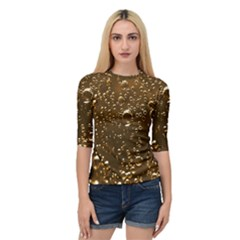 Festive Bubbles Sparkling Wine Champagne Golden Water Drops Quarter Sleeve Tee