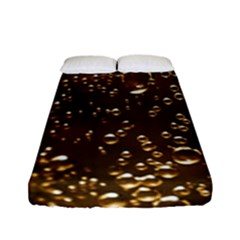 Festive Bubbles Sparkling Wine Champagne Golden Water Drops Fitted Sheet (Full/ Double Size)