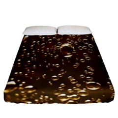 Festive Bubbles Sparkling Wine Champagne Golden Water Drops Fitted Sheet (california King Size)