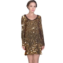 Festive Bubbles Sparkling Wine Champagne Golden Water Drops Long Sleeve Nightdress