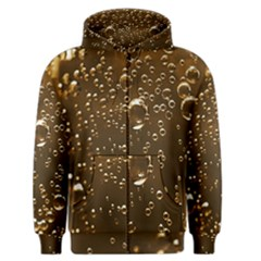 Festive Bubbles Sparkling Wine Champagne Golden Water Drops Men s Zipper Hoodie