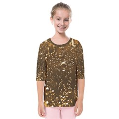 Festive Bubbles Sparkling Wine Champagne Golden Water Drops Kids  Quarter Sleeve Raglan Tee