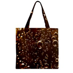Festive Bubbles Sparkling Wine Champagne Golden Water Drops Zipper Grocery Tote Bag