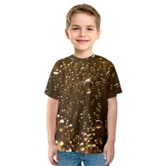Festive Bubbles Sparkling Wine Champagne Golden Water Drops Kids  Sport Mesh Tee