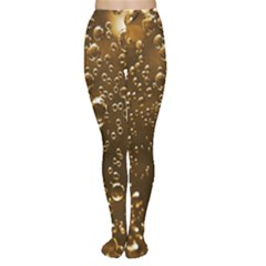 Festive Bubbles Sparkling Wine Champagne Golden Water Drops Women s Tights