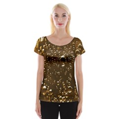 Festive Bubbles Sparkling Wine Champagne Golden Water Drops Cap Sleeve Tops