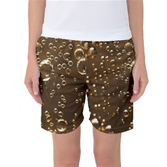 Festive Bubbles Sparkling Wine Champagne Golden Water Drops Women s Basketball Shorts
