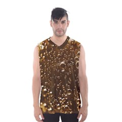 Festive Bubbles Sparkling Wine Champagne Golden Water Drops Men s Basketball Tank Top