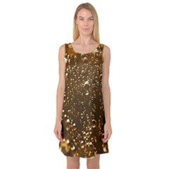 Festive Bubbles Sparkling Wine Champagne Golden Water Drops Sleeveless Satin Nightdress