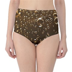 Festive Bubbles Sparkling Wine Champagne Golden Water Drops High Waist Bikini Bottoms
