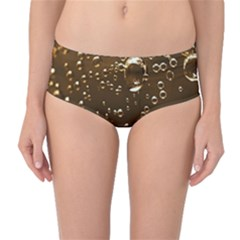Festive Bubbles Sparkling Wine Champagne Golden Water Drops Mid-Waist Bikini Bottoms